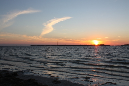 The sun setting from Ft. De Soto